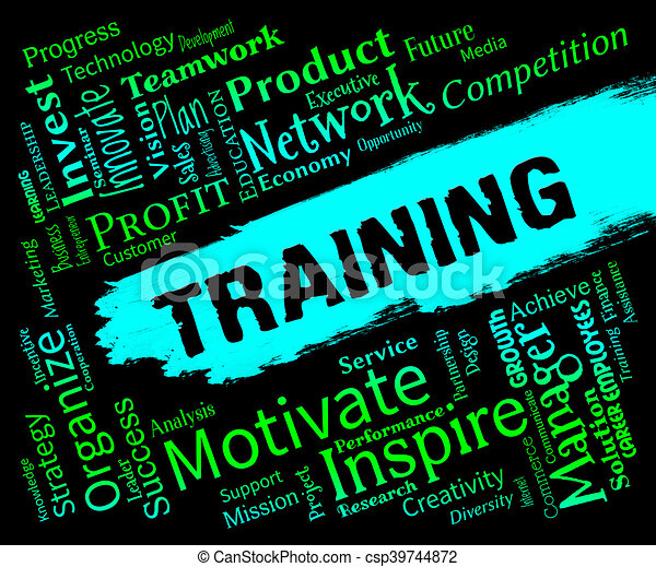 training words indicates webinar lessons and learning training