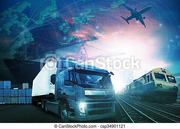 trains, mondiale, cargaison, aérez transport, tout, bateau, logistique, importation, fond, thème, industries, fret, usage, camion, exportation, commerce - csp34901121
