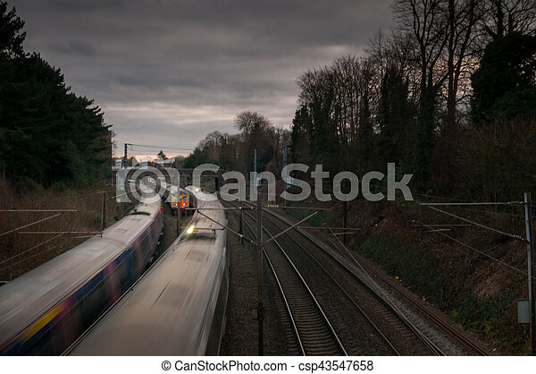 trains on a railway track - csp43547658