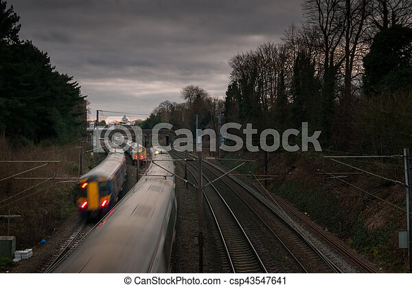 trains on a railway track - csp43547641