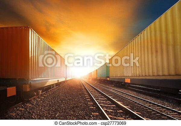 trainst, gyönyörű, alkalmaz, állhatatos, konténer, ügy, útvonal, nap, iparág, vasutak, ellen, futás, vidék, munkaszervezési, szállít, ég - csp27773069
