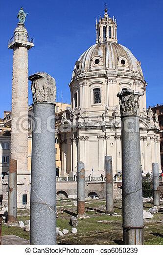 Trajan's Column and Ulpia Basilica - csp6050239