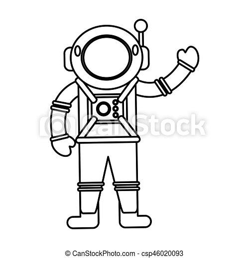 Traje espacial, casco, astronauta, contorno. Casco,... vectores eps ...