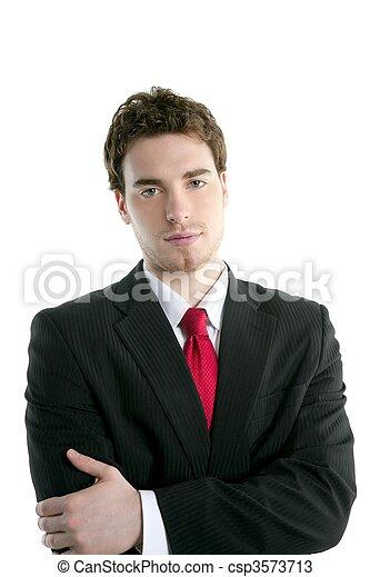 Hombre de negocios joven y guapo traje de corbata - csp3573713