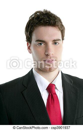 Hombre de negocios joven y guapo traje de corbata - csp3901937