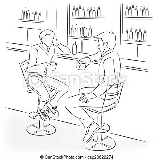 El hombre de traje se sienta en la barra - csp20829274