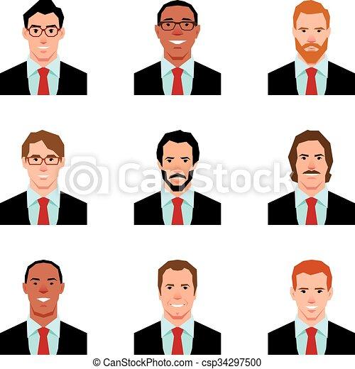 Ilustración de vectores de retratos de avatares de hombres en traje en un estilo plano - csp34297500