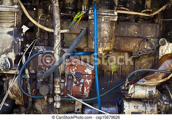 traktor, motor, gammal - csp15679626