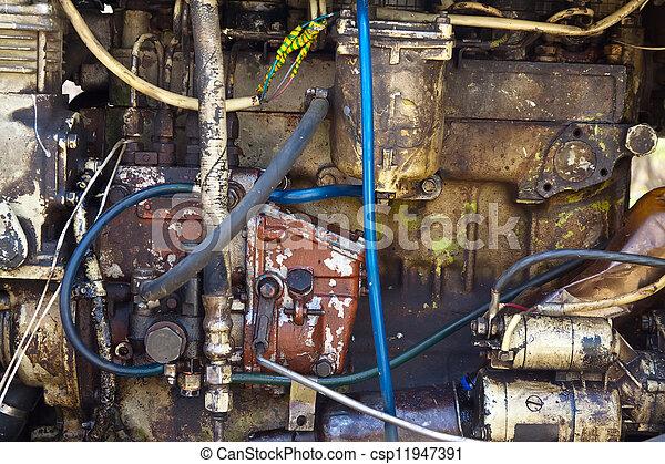 traktor, motor, gammal - csp11947391