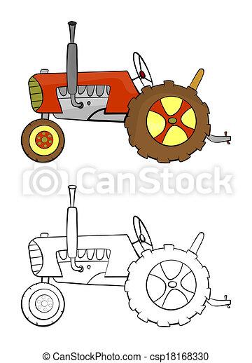 Kolorowanie Strona Tło Biały Rysunek Traktor