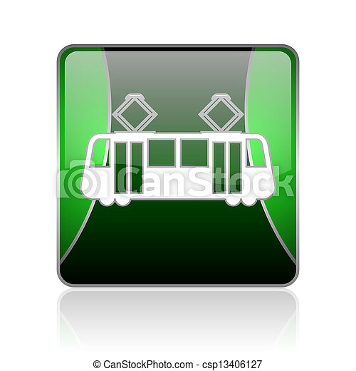 tram black and green square web glossy icon - csp13406127