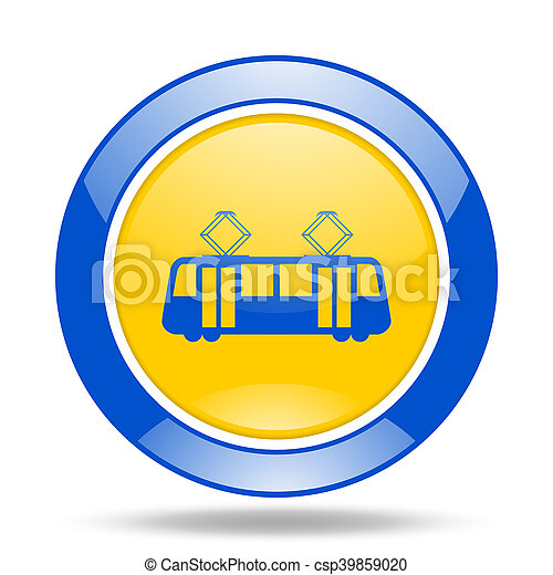 tram blue and yellow web glossy round icon - csp39859020