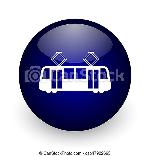 Tram blue glossy ball web icon on white background. Round 3d render button. - csp47922665