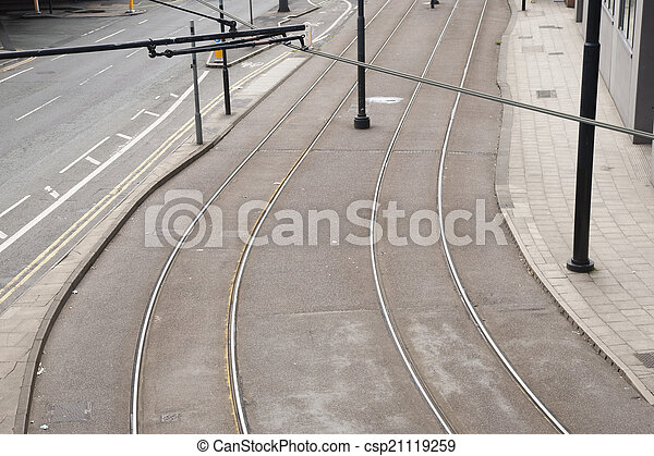 Tram Lines on Street - csp21119259