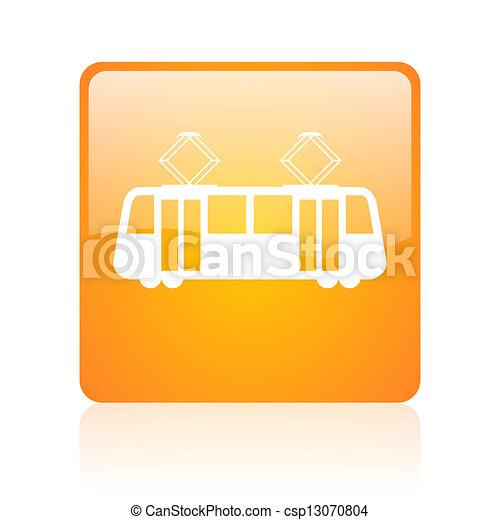 tram orange square glossy web icon - csp13070804