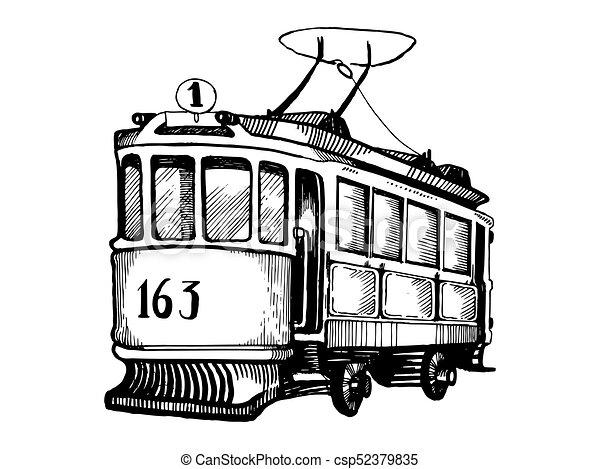 Tram, ouderwetse , vector, gravure, illustratie. Gravure