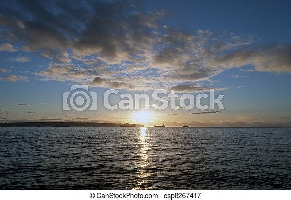 tramonto, baia, vancouver, sopra, inglese - csp8267417
