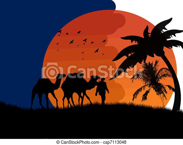 tramonto, deserto sahara - csp7113048