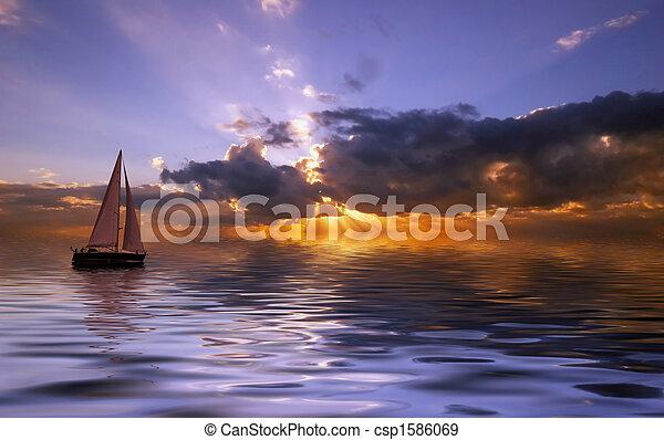 tramonto, navigazione - csp1586069