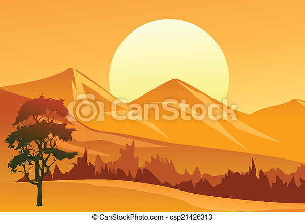 tramonto, paesaggio - csp21426313