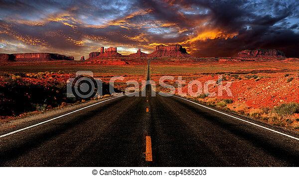tramonto, valle, monumento, immagine - csp4585203