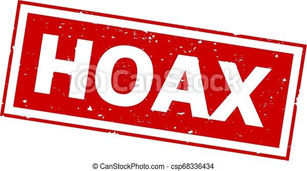 Palabra HOAX sobre impresión de sello rojo - csp68336434
