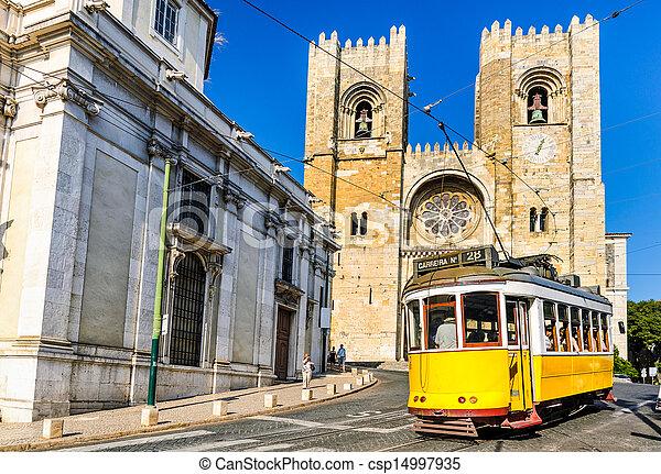 tramwaj, historyczny, 28, żółty, lisbona - csp14997935