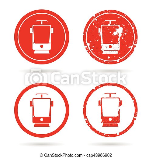 tramway set in red color illustration - csp43986902