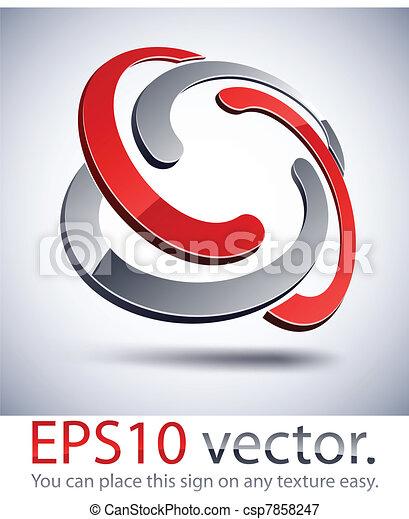 trançado, icon., modernos, logotipo, 3d - csp7858247