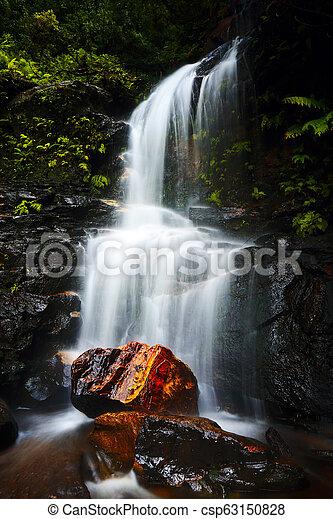Tranquil waterfall idyllic Blue Mountains - csp63150828