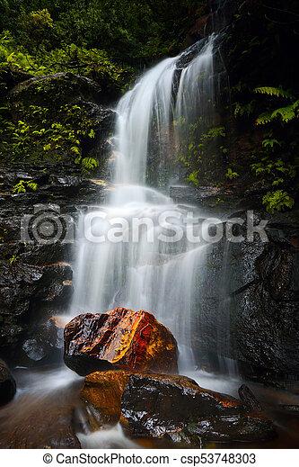 Tranquil waterfall idyllic Blue Mountains - csp53748303