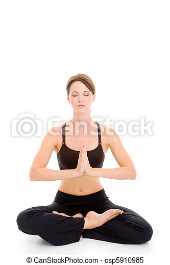 tranquil woman sitting yoga meditating isolated slender