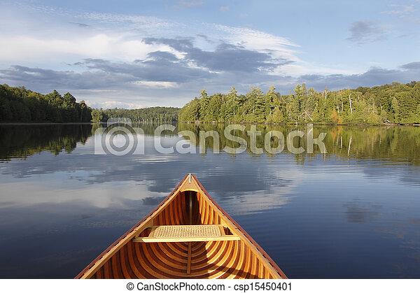 tranquille, lac, canoë-kayac - csp15450401
