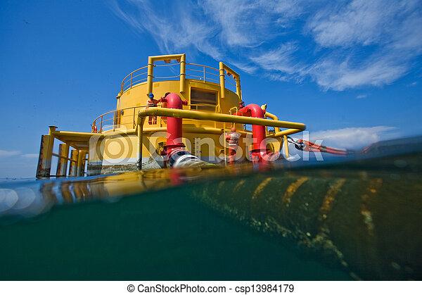 transferencia, aceite, gas, plataformas - csp13984179