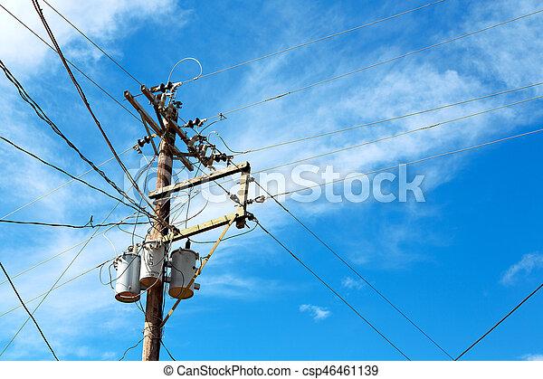 transformator, draht, elektrisch, himmelsgewölbe, bewölkt , stange - csp46461139