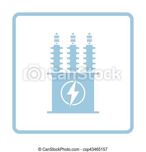 Transformator, elektrisch, ikone. Blaues, transformator,... Clipart ...