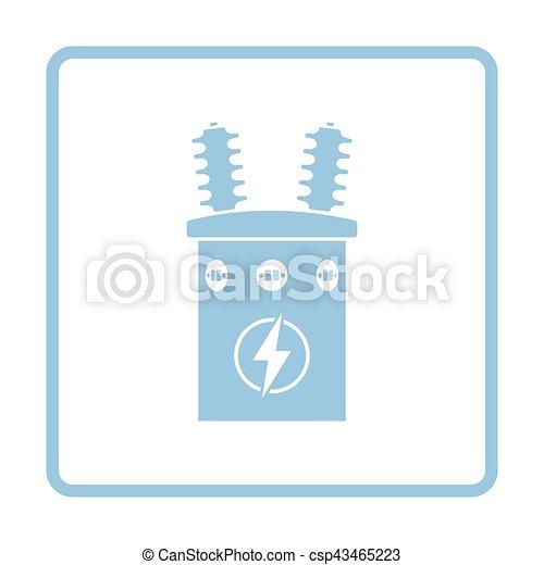 Transformator, elektrisch, ikone. Blaues, transformator ...