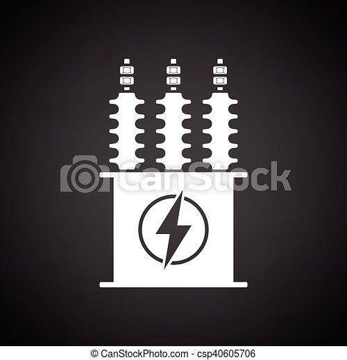 Transformator, elektrisch, ikone. Transformator, elektrisch ...