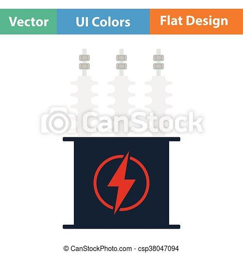 Transformator, elektrisch, ikone. Wohnung, transformator,... EPS ...