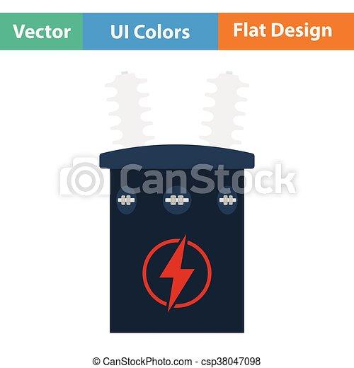 Transformator, elektrisch, ikone. Wohnung, transformator ...