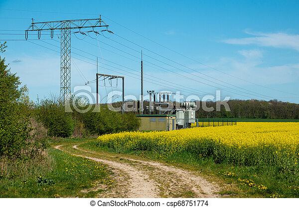 transformator, steht, canola, feld, station, elektrisch - csp68751774