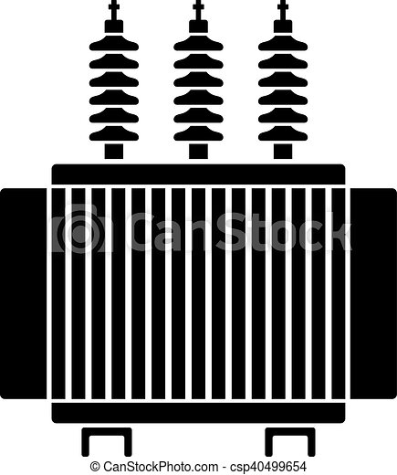 Transformator, symbol, hoch, elektrisch, spannung, schwarz ...