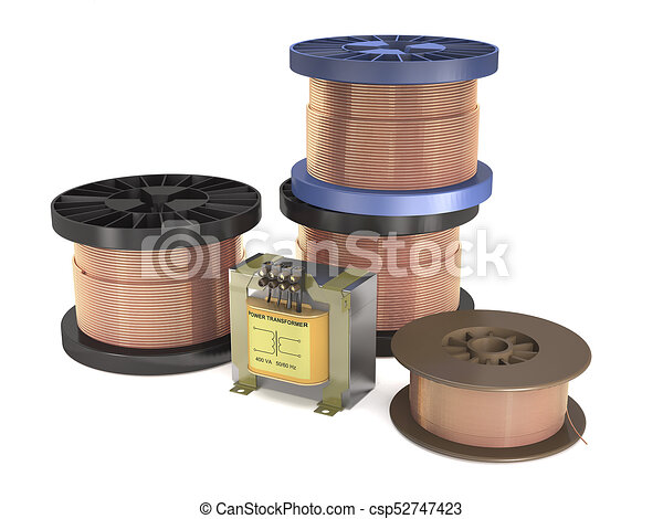 Transformer and coils with copper wire (3d illustration ...