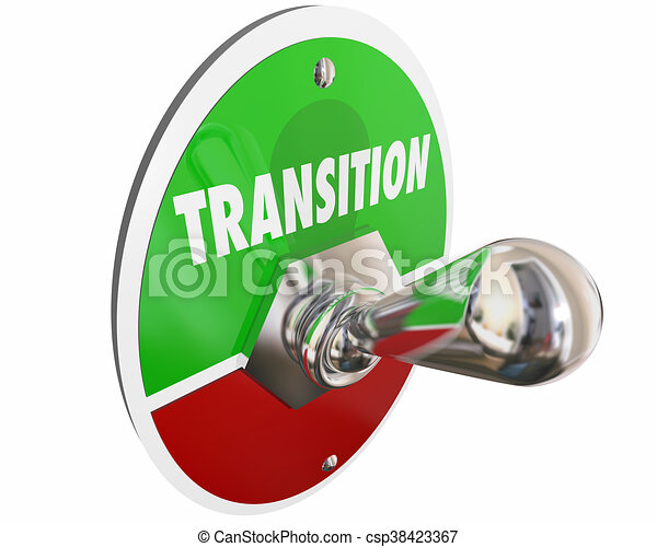 Transition Switch Turn On Change Word 3d Illustration - csp38423367