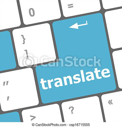 Translate Computer Key In Blue Showing Online Translator - csp16715555