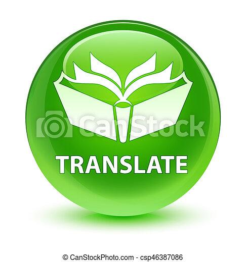 Translate glassy green round button - csp46387086