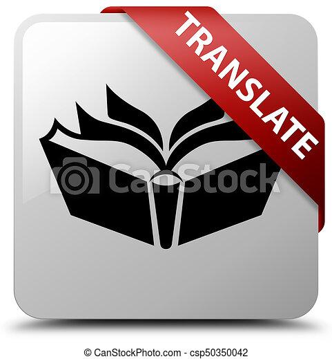 Translate white square button red ribbon in corner - csp50350042
