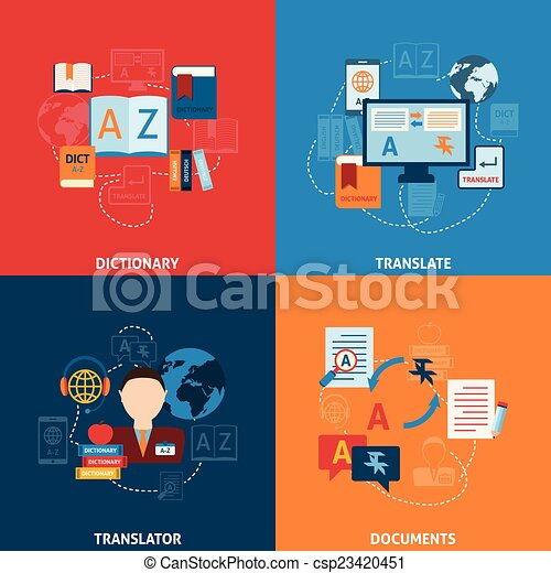 Translation and dictionary flat icons composition - csp23420451