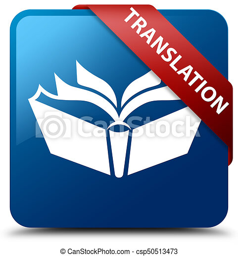 Translation blue square button red ribbon in corner - csp50513473