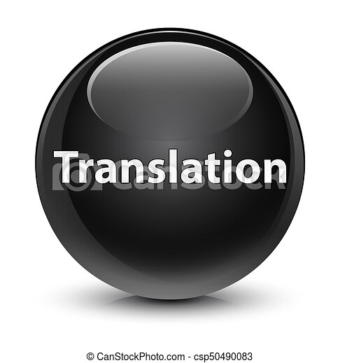 Translation glassy black round button - csp50490083